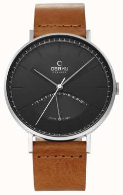 Obaku Reloj de hombre de olmo con correa de cuero marrón esfera negra V213GUCURZ