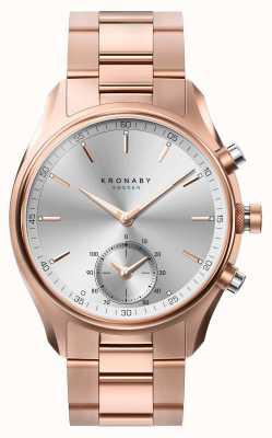 Kronaby 43mm sekel bluetooth rosa oro metal pulsera smartwatch A1000-2745