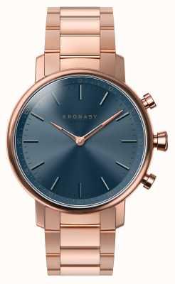 Kronaby 38mm quilates bluetooth rosa pulsera de oro esfera azul smartwatch A1000-2445