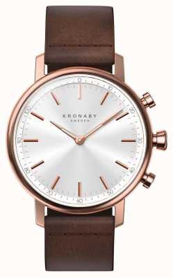 Kronaby Correa de cuero de 38 mm de quilate color oro rosa con reloj inteligente. A1000-1401
