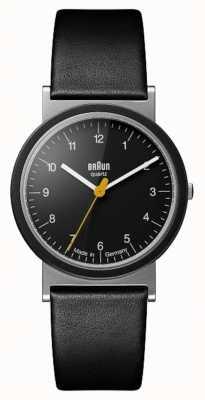 Braun Classic tributo 1989 diseño correa de cuero negro esfera negra AW10