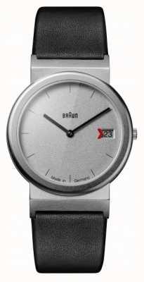Braun Clásico diseño tributo a 1989 negro correa de piel gris. AW50