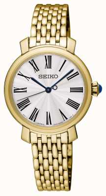 Seiko Reloj para mujer con baño de oro esfera blanca SRZ498P1