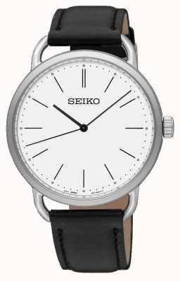 Seiko Reloj de pulsera para mujer correa de cuero negro esfera blanca SUR237P1