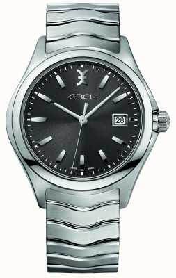 EBEL Mens onda acero inoxidable pulsera esfera gris 1216239
