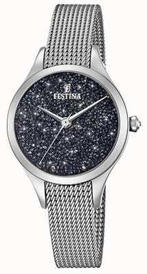 Festina Reloj para dama con cristales swarovski pulsera de malla F20336/3