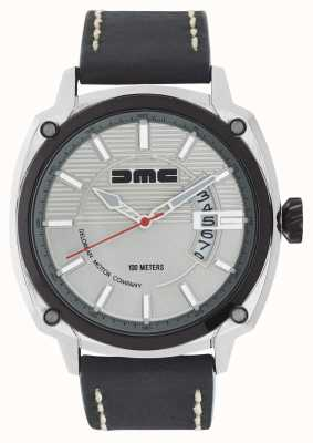 DeLorean Motor Company Watches Alpha dmc silver mens silver plate correa de cuero negro DMC-3