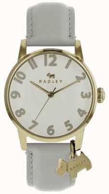 Radley Señoras 36 mm dial gp caja con correa de piel de charco de encanto de perro RY2646