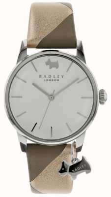 Radley Señoras de plata 35 mm caja de plata / blanco marcar silver dog charm RY2647