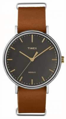Timex Fairfield 41mm cuero marrón correa de cromo TW2P97900