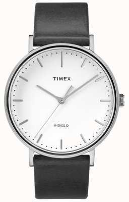 Timex Correa de cuero negra Fairfield 41 mm / esfera blanca TW2R26300
