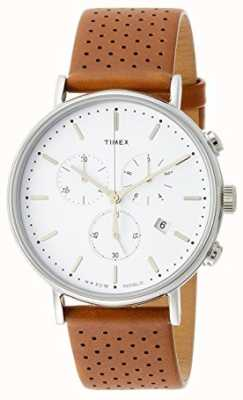 Timex Correa de cuero Fairfield Chrono marrón / esfera blanca TW2R26700
