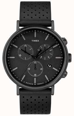 Timex Correa de cuero negro Fairfield Chrono / esfera negra TW2R26800