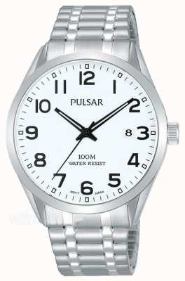 Pulsar Reloj de dial de fecha de pulsera de acero inoxidable para hombre PS9559X1