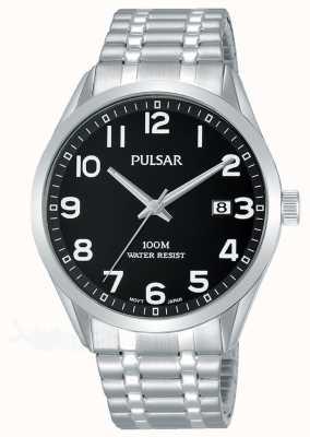 Pulsar Pulsera expandible de acero inoxidable con esfera negra para hombres PS9563X1
