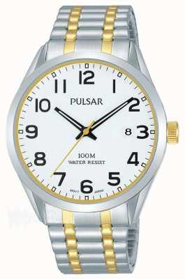 Pulsar Dial de la fecha de la pulsera de dos tonos para hombre PS9565X1