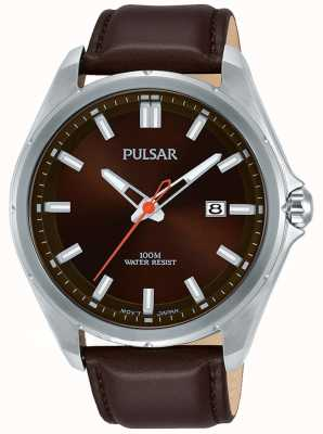 Pulsar Exhibición de fecha de la caja de acero inoxidable con correa de cuero marrón PS9555X1