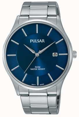 Pulsar Exhibición de fecha del dial azul del acero inoxidable PS9541X1