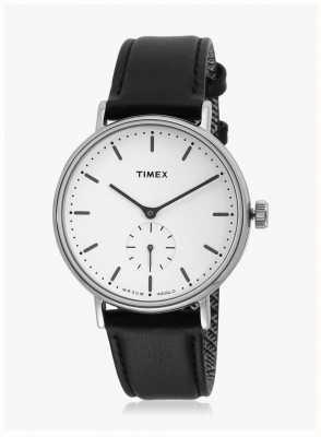 Timex Fairfield sub-segundo silvertone caja esfera blanca correa negra TW2R38000