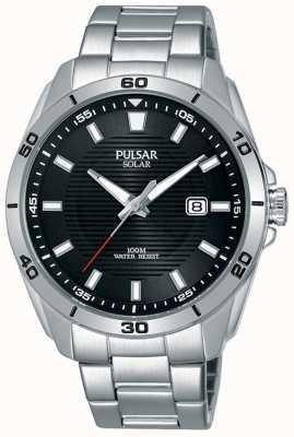 Pulsar Exhibición de fecha del dial negro del acero inoxidable PX3151X1