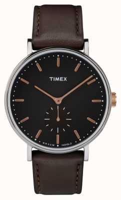 Timex Esfera negra de Fairfield esfera negra y correa marrón TW2R38100