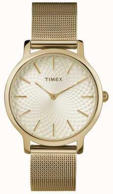 Timex Pulsera de malla dorada de 34 mm / esfera dorada TW2R36100
