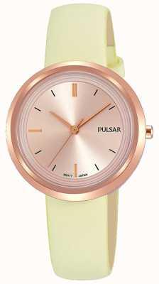 Pulsar Caja de oro rosa y correa de cuero del dial PH8394X1