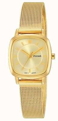 Pulsar Pulsera de malla de acero inoxidable dorado para mujer 30m de resistencia PH8380X1