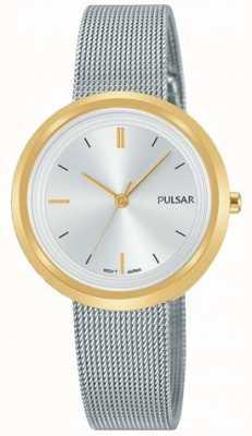 Pulsar Pulsera de malla de acero para mujer con caja de oro redonda PH8386X1