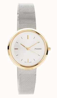 Pulsar Mujeres | pulsera de malla de acero inoxidable | caja redonda de oro | PH8386X1