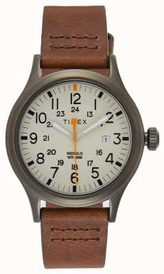 Timex Correa de cuero marrón Allied 40 / esfera natural TW2R46400