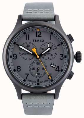 Timex Correa de cuero Allied Chrono gris / esfera gris TW2R47400