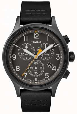 Timex Correa de cuero negra Allied Chrono / esfera negra TW2R47500