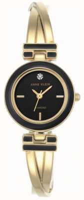 Anne Klein Mujer melanie gold tone pulsera esfera negra AK/N2622BKGB