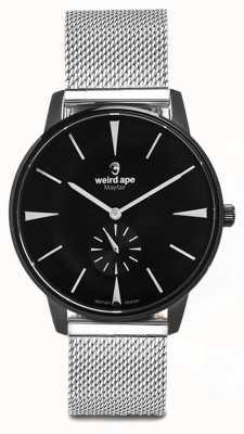 Weird Ape Mayfair black dial white markers pulsera de malla de plata WA02-005625