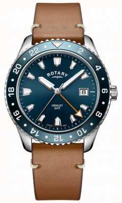Rotary Reloj henley gmt cuero marrón azul para hombre GS05108/05