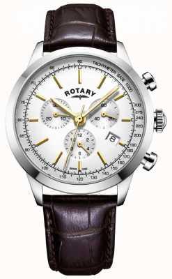 Rotary Reloj de cuero cronógrafo cambridge para hombre GS05253/02