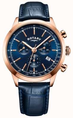 Rotary Reloj de cuero cronógrafo cambridge azul para hombre GS05257/05