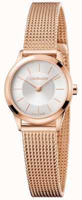 Calvin Klein Señoras pulsera de malla de oro rosa esfera blanca K3M23626