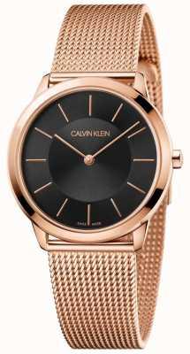 Calvin Klein Señoras pulsera de malla de oro rosa mínimo esfera negra K3M2262Y