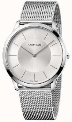 Calvin Klein Mens minimalista gris malla de plata esfera K3M2T126