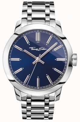 Thomas Sabo Hombres rebeldes en el corazón reloj pulsera de acero inoxidable esfera azul WA0310-201-209-46