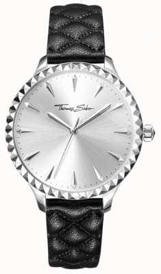 Thomas Sabo Reloj para mujer rebelde en el corazón correa de cuero negro esfera plateada WA0320-203-201-38