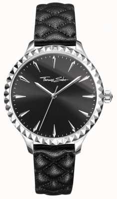 Thomas Sabo Reloj para mujer rebelde en el corazón negro correa de cuero esfera negra WA0321-203-203-38