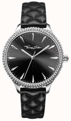 Thomas Sabo Reloj para mujer rebelde en el corazón negro correa de cuero esfera negra WA0322-221-203-38
