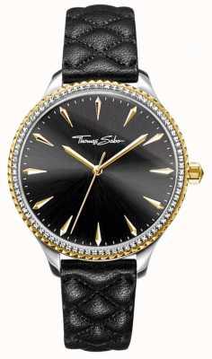 Thomas Sabo Reloj para mujer rebelde en el corazón negro correa de cuero esfera negra WA0323-221-203-38