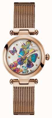 Gc Mujer purechic rosa oro pvd malla pulsera mariposa marcar Y31011L1