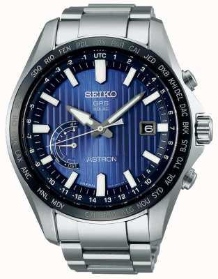 Seiko Astron solar gps azul dial brazalete de acero inoxidable SSE159J1