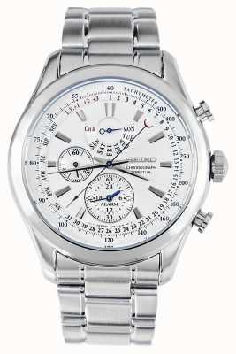 Seiko Alarma cronógrafo reloj pulsera de plata esfera blanca SPC123P1