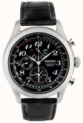 Seiko Reloj cronógrafo para hombre esfera negra correa de piel negra SPC133P1